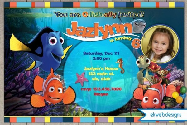 Finding Nemo Custom Invitations Finding Nemo Birthday Party