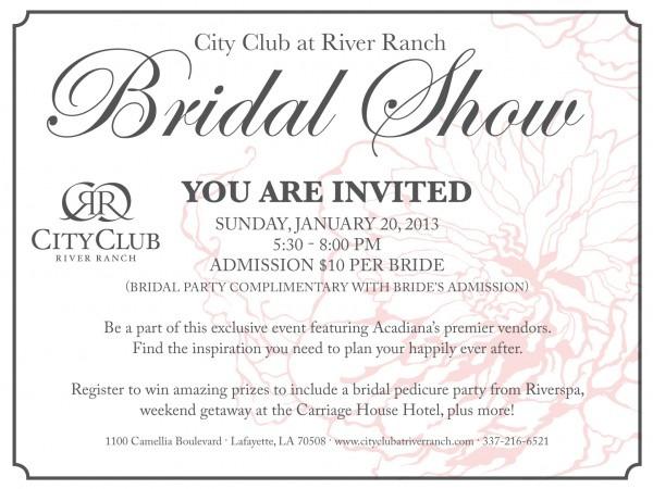 2013 City Club Bridal Show Invitation