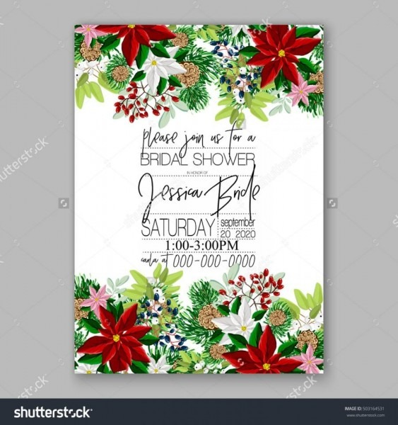 Bridal Shower Invitation Card Template With Winter Bridal Bouquet