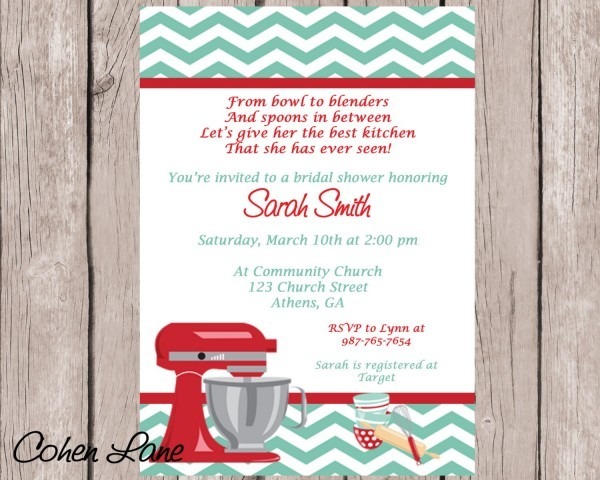 Bridal Shower Invitations Kitchen Theme Great Themed 72 On