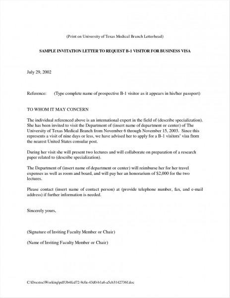Brilliant Ideas Of Business Invitation Letter To Canada Template