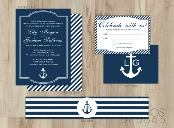 Chic Nautical Wedding Invitations