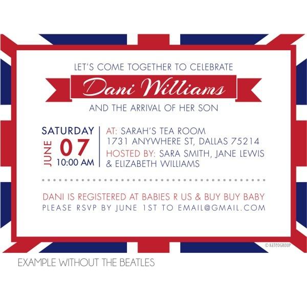 British Themed Baby Shower Invitation