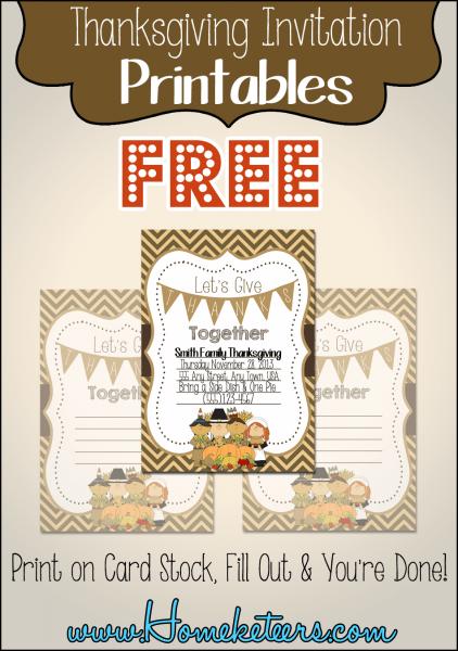 Pilgrim Thanksgiving Invitations ~ Free Printable