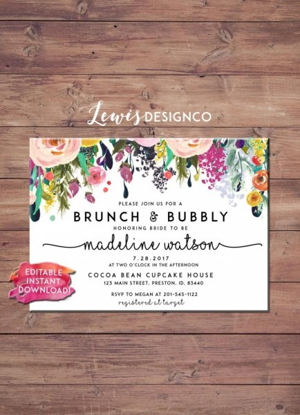 Brunch And Bubbly Floral Bridal Shower Invitation  2573824