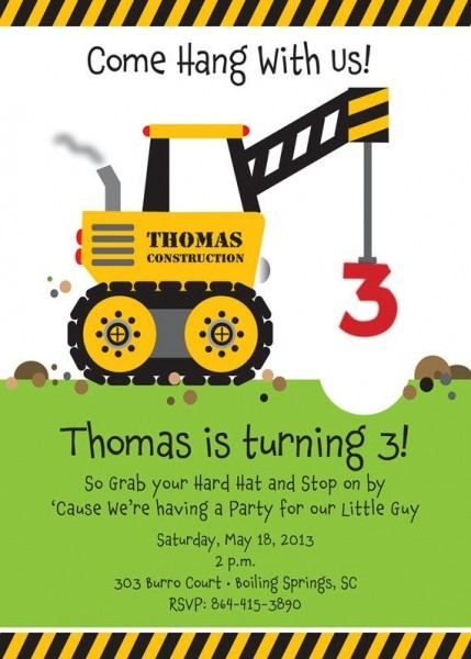Construction Marvelous Construction Birthday Invites