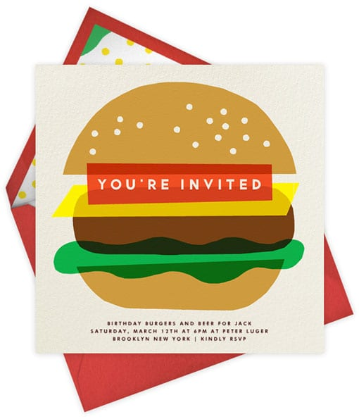 Burger Party Invitations