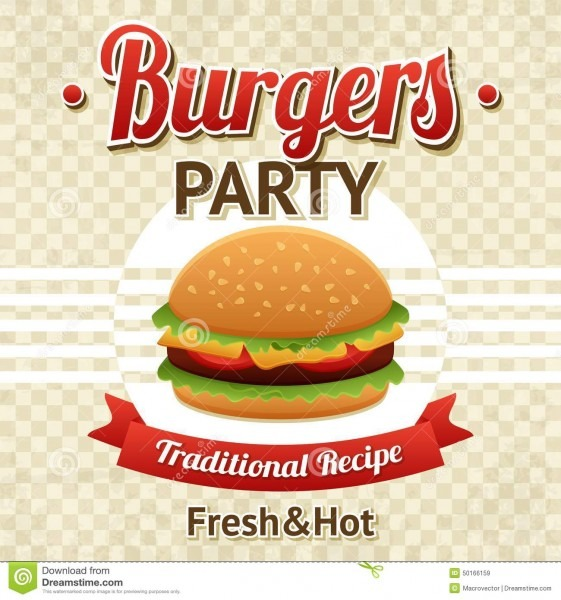 Burger Party Poster Stock Vector  Illustration Of Illustration