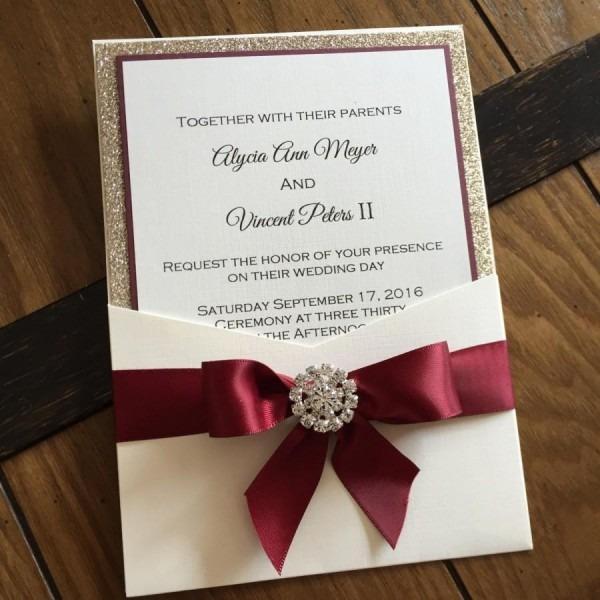 Burgundy And Gold Leaf Glitter Pocket Wedding Invitation
