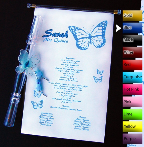 16 Scroll Quinceanera Invitations, Scroll Wedding Invitations