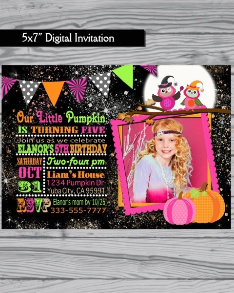 Halloween Invitation   Girl Halloween Invitation   Birthday