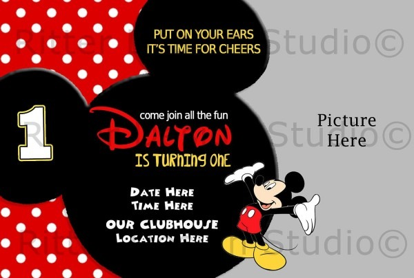 Printable Mickey Mouse Invitations Template