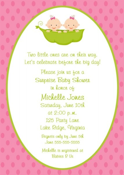Two Peas In A Pod Twin Girls Baby Shower Invitation Twin Girls