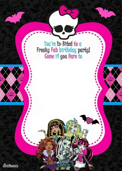 Free Printable Monster High Birthday Invitations