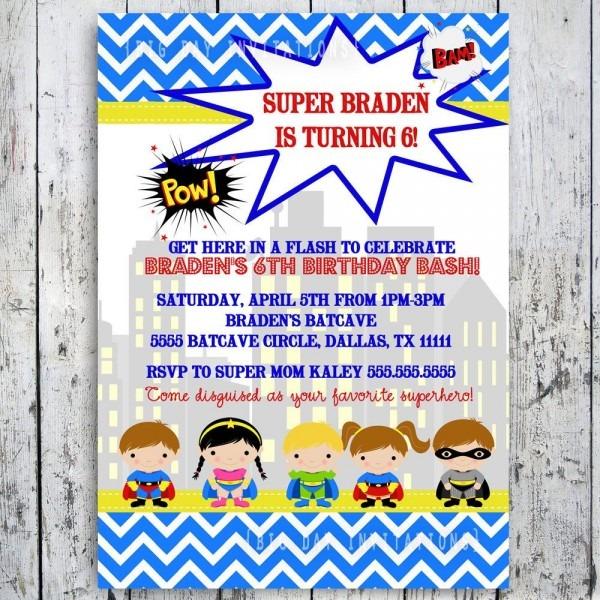 Custom Superhero Invitation