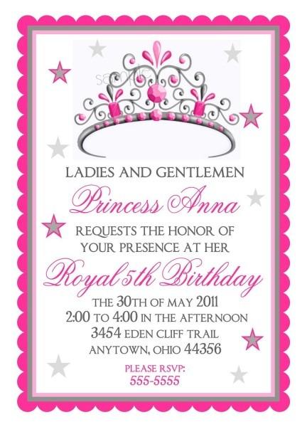 Princess Birthday Invitations, Tiara, Princess, Crown, Fairy