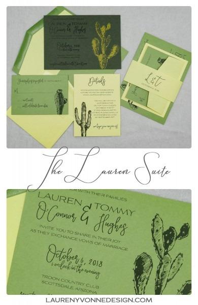 Desert Cactus Wedding Invitation In Green And Yellow  Modern