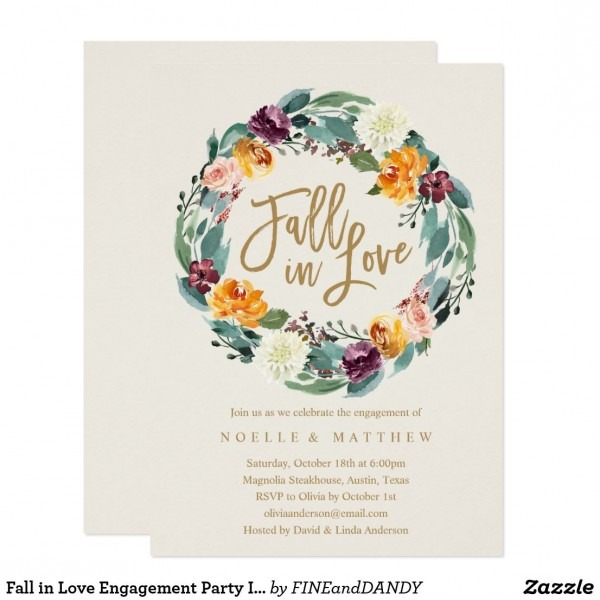 Fall In Love Engagement Party Invitation