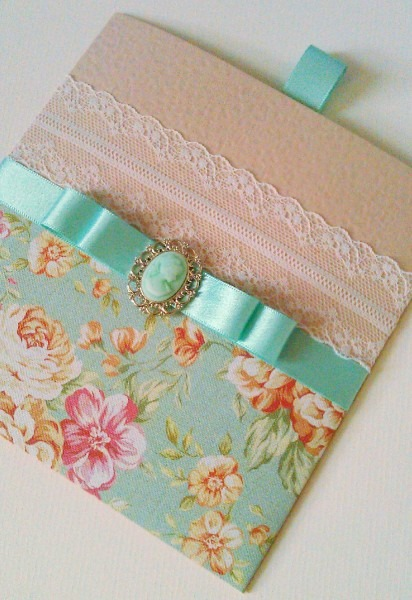 Vintage Floral Peppermint Green And Peach Wallet Style Wedding