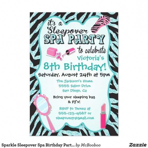 Sparkle Sleepover Spa Birthday Party Invitations Add A Little