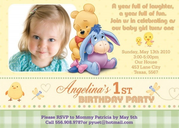 Get Free Template Winnie The Pooh Photo Birthday Invitations