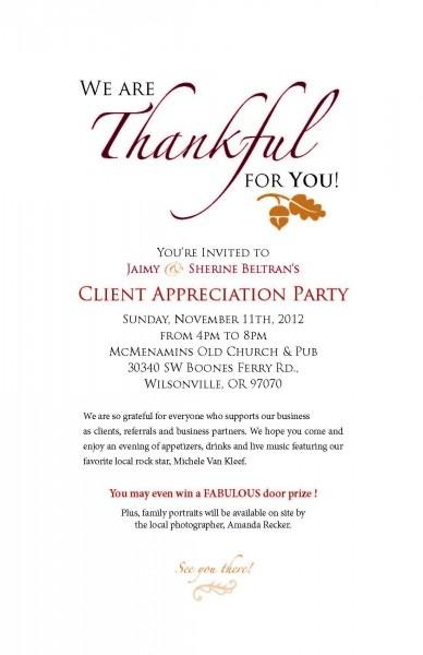 Client Appreciation Party Invitations