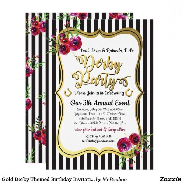 Gold Derby Themed Birthday Invitations