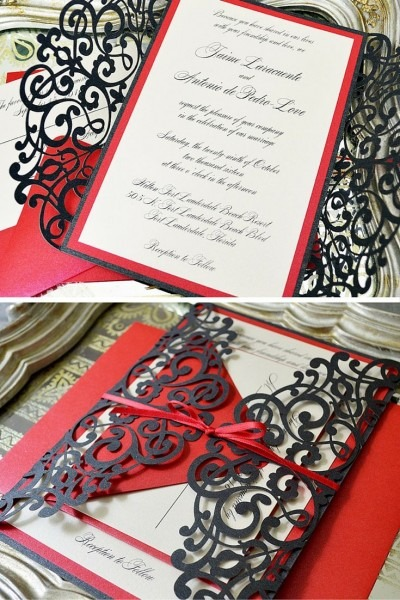 Black And Red Laser Cut Wedding Invitation By Paper & Lace