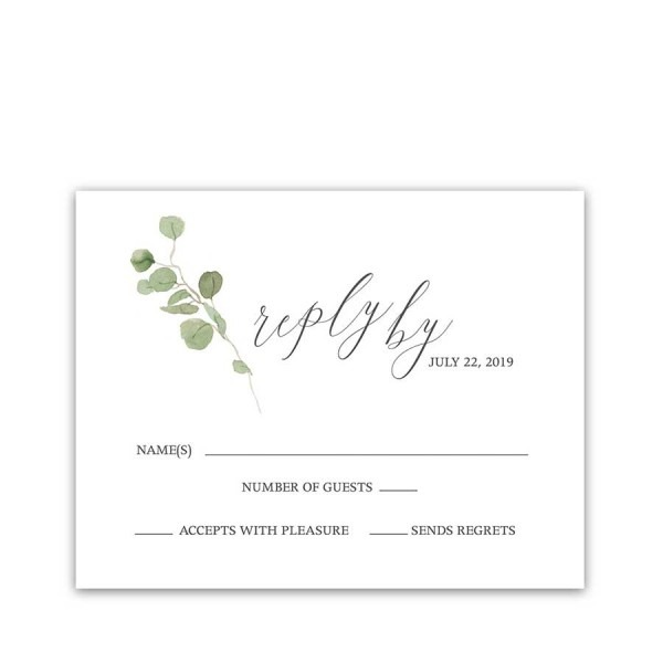 Calligraphy Wedding Rsvp Cards Eucalyptus Sprigs
