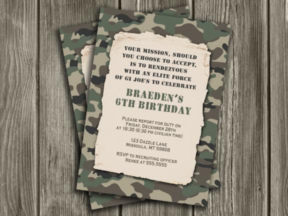 Invitation Template  Military Birthday Invitations