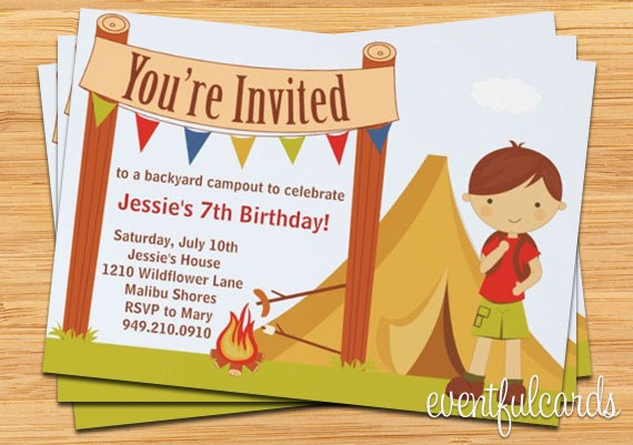 Camping Birthday Party Invita Best Camping Birthday Party