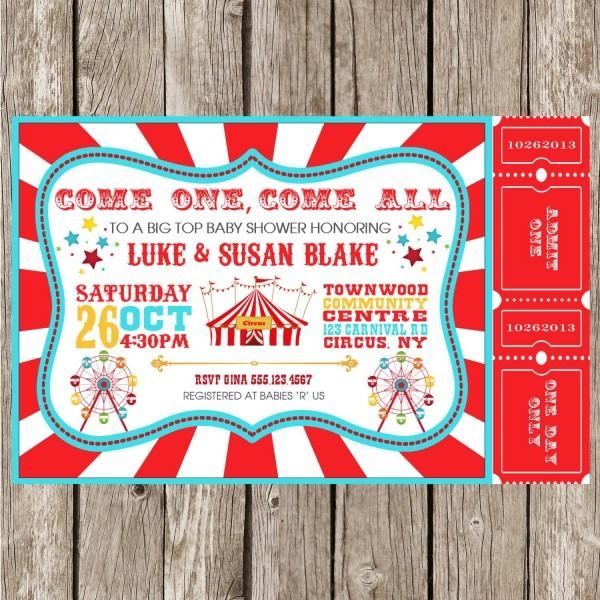 Sample Carn Cute Carnival Party Invitations