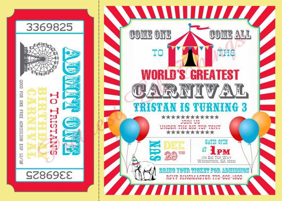 Carnival Birthday Party Lovely Carnival Party Invitations