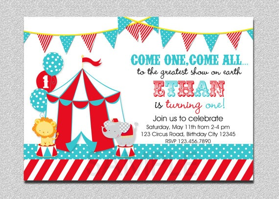 Carnival Circus Birthday Amazing Carnival Party Invitations