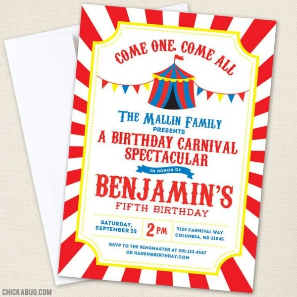 Carnival Th Trend Carnival Birthday Invitations