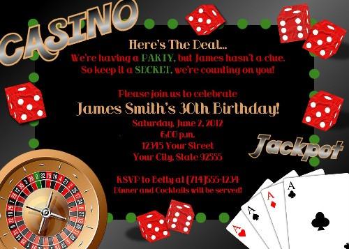 Invitation Ideas  Casino Birthday Invitation Templates