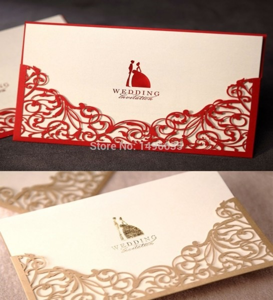 Ccinvite Design Laser Cut Floral Red Gold Wedding Invitations