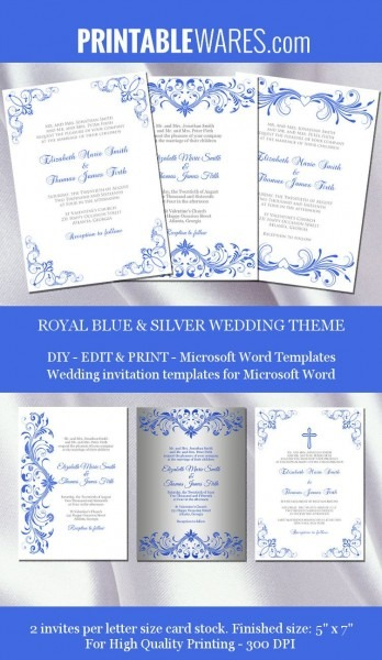 Royal Blue And Silver Wedding Invitation Templates For Microsoft