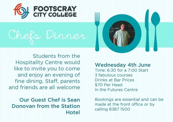 Bookings Are Open For The 2014 Chef's Dinner
