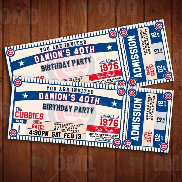 Chicago Cubs Ticket Style Sports Party Invitations – Sports Invites