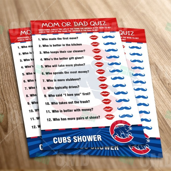 Chicago Cubs – Mom Or Dad Baby Shower Game – Sports Invites