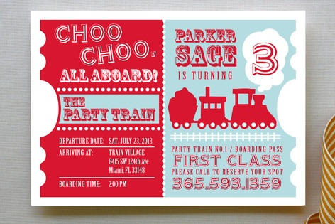 Choo Cho Elegant Train Birthday Party Invitations
