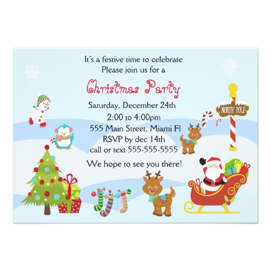 Christmas Invitation Kids Party Snowman Santa Rabdbcdcbfdaadd