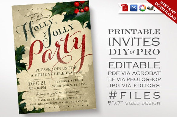 Free Printable Holiday Invitation Templates Beautiful Christmas
