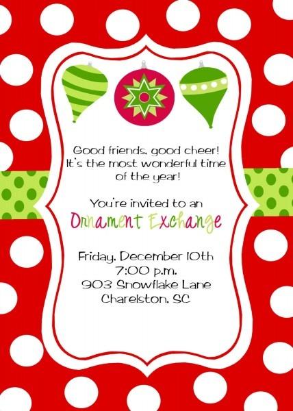 Christmas Invitations Wording Samples
