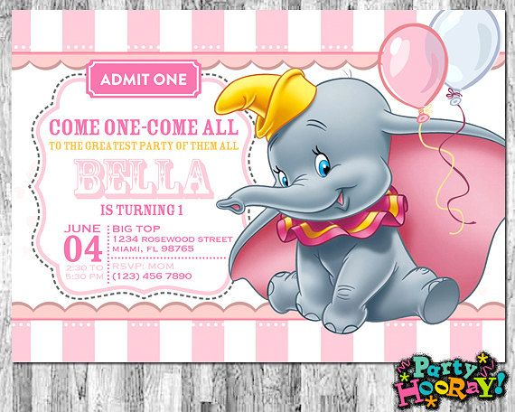 Circus Birthday Invitation Template Free Good Design Dumbo