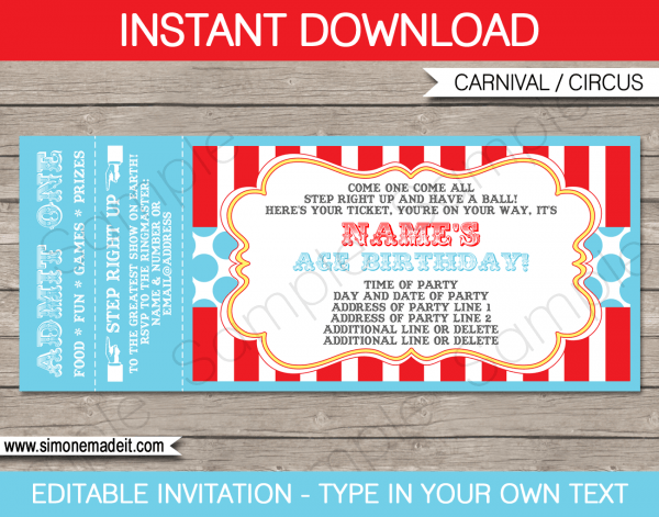 Circus Party Ticket Invitation Template
