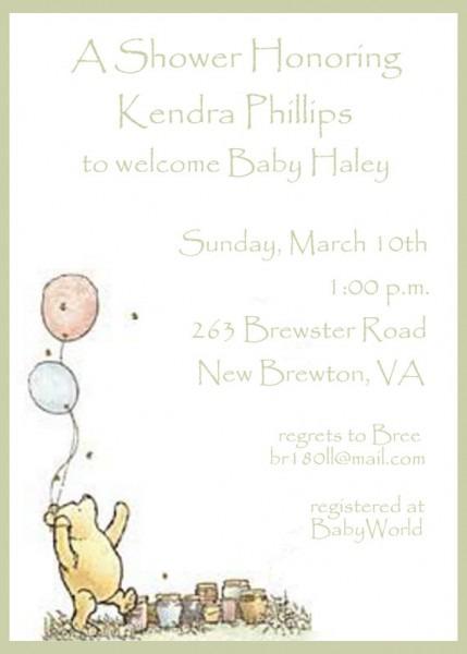 Vintage Pooh Baby Shower Invitations