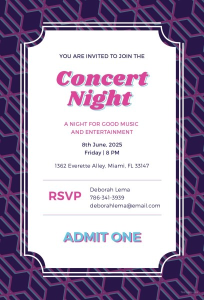 Best Solutions For Concert Ticket Invitation Template Also