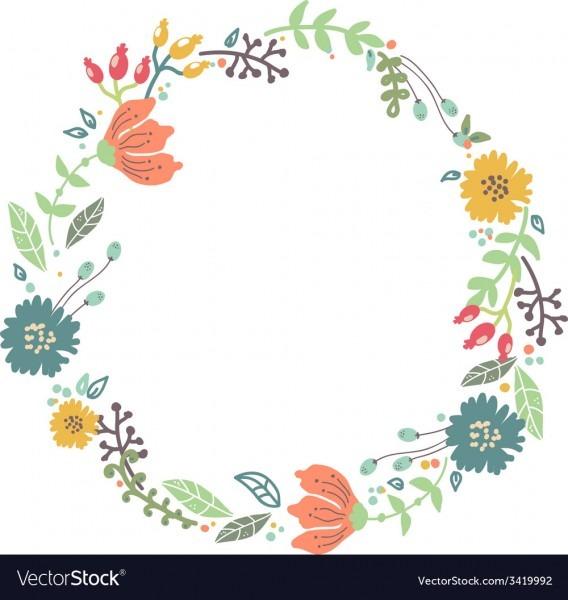 Color Floral Frame For Wedding Invitation Design Vector Image